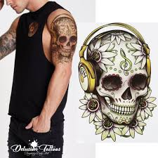 Details About Sugar Skull Temporary Tattoo Candy Skull Headphones Flower Mens Womens Kids