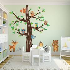 palm tree wall stickers: woodland animals wall tree nursery decal