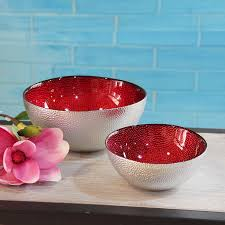 Decorative Red Glass Bowls Silver red Glass bowl luxury decor glass cups fruit tray fashion 35