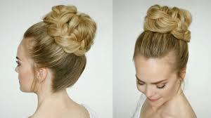 French Braid Updo Hairstyles French Braid High Bun Missy Sue Youtube
