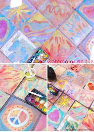 Art For Kids Easy Art Ideas For Kids Watercolor On Tile Babble Dabble Do