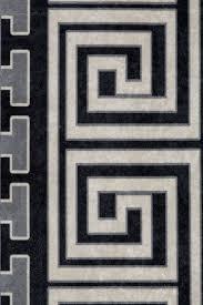 designer rug living room rugs oriental pattern printed borders black white image 3