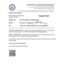 araw ng davao holidays ateneo de davao university davao city more news events