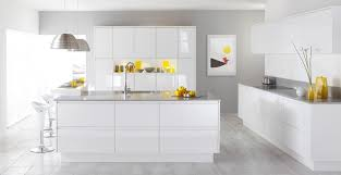 modern white gloss kitchen ideas with yellow accents
