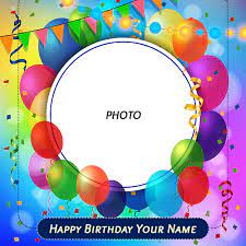 happy birthday card balloons photo frame
