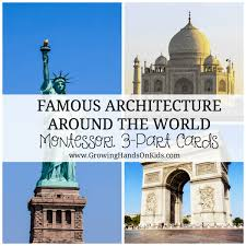 Famous architecture in the world Unconventional Famous Architecture Around The World Montessori 3part Cards For Toddlers Preschoolers And Growing Handson Kids Famous Architecture Around The World 3part Cards