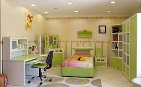 magnificent green single bed and office table also green swivel chair and green furniture themes in children bedroom lighting