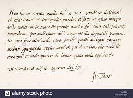 torquato tasso italian poet hand writing sample stock photo torquato tasso 1544 1595 italian poet hand writing sample