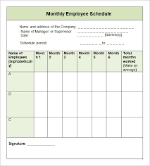 Blank Monthly Employee Schedule Template