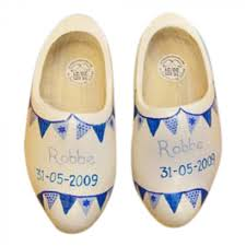 original hand painted dutch wooden shoes with name birthdate and flags
