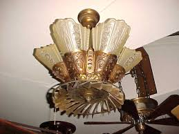 Antique Art Deco (?) Guth Lightolier With An Old Ceiling Fan Attachment.  This Is So Cool, But It Looks Like It Would Chop My Fingers Off If I Ever  Raised My ...