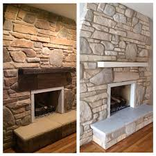white washed stone fireplace using annie sloan chalk paint