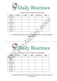 Exercise Daily Routine Chart Daily Routines Adverbs Of Frequency Esl Worksheet By Jessisun