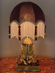 pair art deco table lamps gold vein black marble green onyx