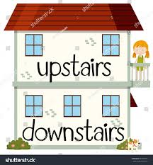 down stairs clipart.  Down Upstairs Downstairs Clipart Awesome Opposite Wordcard  Illustration Stock Vector And Down Stairs E