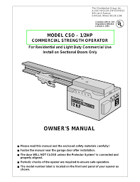 Light Duty Commercial Garage Door Opener Chamberlain Cso 1 2hp User Manual 36 Pages
