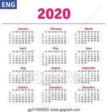 November 2020 Calendar Clip Art Eps Illustration English Calendar 2020 Vector Clipart