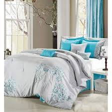 turquoise and gray bedding. Wonderful Gray Queen Size Petunia 12Piece Bed In A Bag Bedding Comforter Set Grey Turquoise Blue Multicolor To And Gray Amazoncom