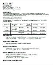 Naukri Resume Format Experience Resume Format Naukri Paid Resume