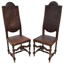 high back leather chairs. (2) CONTINENTAL HIGHBACK LEATHER CHAIRS, 19TH C. ( 1800s ) High Back Leather Chairs 2