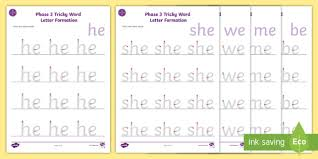The vowel trigraphs igh, ear, ure and air. Middle East Phase 3 Tricky Words Letter Formation Worksheet Pack