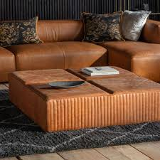 liverpool leather coffee table in brown