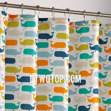 colorful cartoon kids whale shower curtain