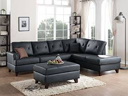 sectional sofa with chaise. 3Pcs Black L Shaped Reversible Sectional Sofa Chaise Ottoman Set With Top Grain Leather