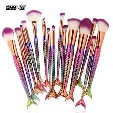 10 15pcs mermaid makeup brushes set eyeshadow eyeliner blush blending contour foundation cosmetic beauty make