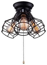 lnc wire cage ceiling lights 3 light pull string ceiling lamp black finish