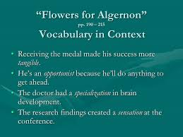 "flowers for algernon"" pp ppt  3 ""flowers"