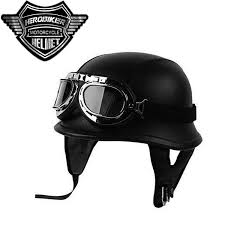 New Leather Motorcycle Helmet German Motorcycle Open Face Half Helmet Chopper Biker Pilot Vespa Camouflage Dot Black