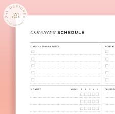 cleaning schedule printable cleaning schedule day designer