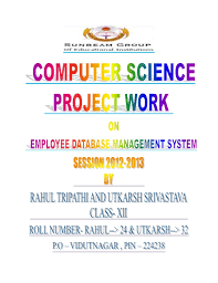 front page for computer project computer science project work