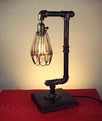 steel pipe desk table lamp light edison steampunk