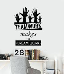 wall decal office cool vinyl decal wall sticker office quote teamwork makes  the cool vinyl decal