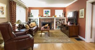 craftsman style living room dry panels on rods brick fireplace furniture area