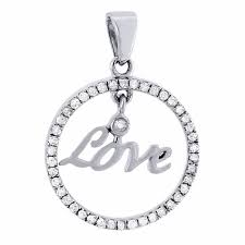 details about circle love diamond pendant 10k white gold round charm 1 4 ct
