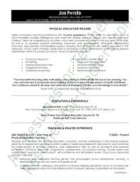 School Teacher Resume Sample Beauteous Physical Education Resume Demireagdiffusion