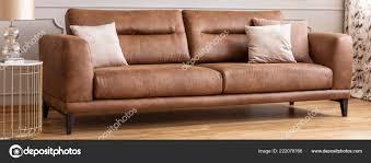 panoramic view big comfortable leather sofa pillows real photo stock photo