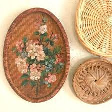 wicker wall decor vintage art basket painted hanging tray target