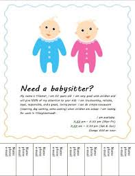 Babysitter Flyer Maker Baby Sitter Flyer With Cute Kids Free Flyer Template By