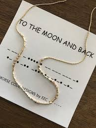 to the moon and back morse code necklace secret message jewelry morse code jewelry secret code perfect bridesmaid gift daughter gift