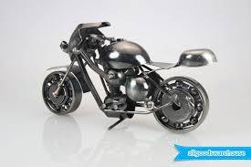 scrap metal art handmade nuts and bolts racing motorbike gift