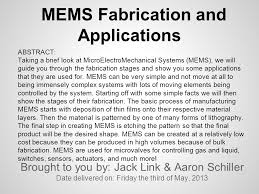 MEMS Fabrication and Applications Brought to you by: Jack Link & Aaron  Schiller Date delivered on: Friday the third of May, 2013 ABSTRACT: Taking  a brief. - ppt download