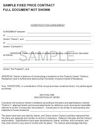 with material construction agreement fixed price contract contracts cost plus fee construction template