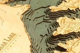 Lake Arrowhead Depth Chart Big Bear Lake 3 D Nautical Wood Chart 13 5 X 31