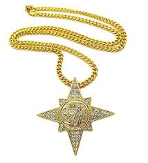 mens iced out hip hop gold 7 star 5 percenter pendant cuban link chain necklace