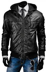 black leather jacket with hoo men s slim fit black jacket s jacket