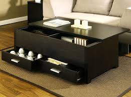 furniture simple black coffee table with drawers slide space decorations modern stained varnished